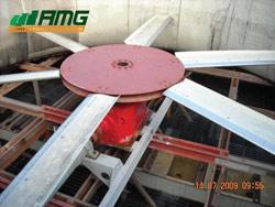 Balanceamento dinâmico em hélices no local em torre de resfriamento