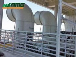Fabricação e montagem de duto de descarga de ar em fibra de vidro